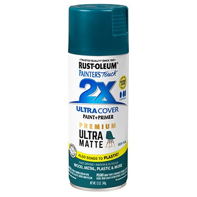 - RUST-OLEUM 331185 Painters Touch 2 X 12 OZ Deep Teal Matte Spray Paint