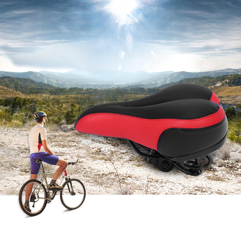 Thickened Wide Bum Shock Absorb Bike Saddle Seat w// High Reflective Stripe