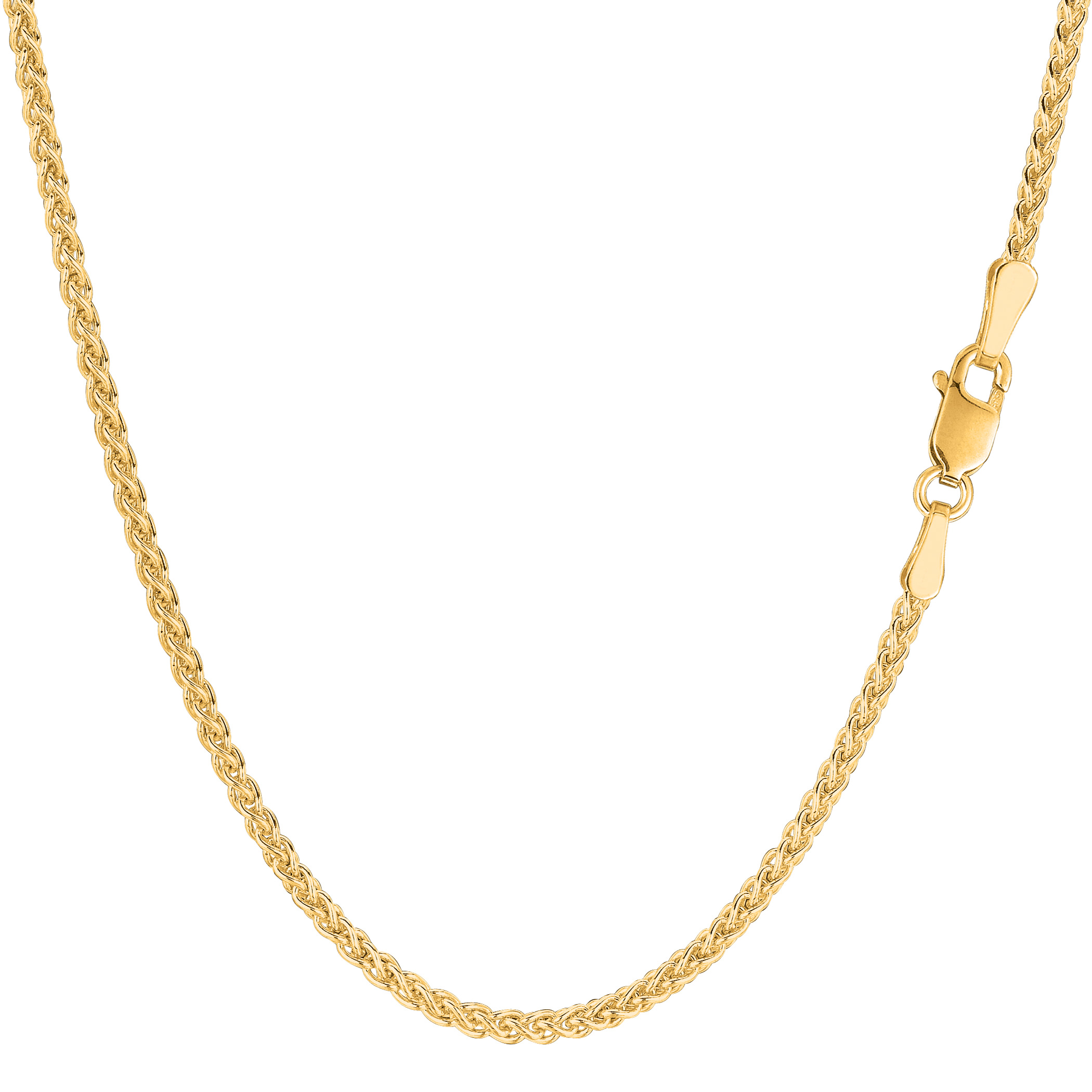 """14k Yellow Gold Round Wheat Chain Necklace, 2.1mm, 30"""" - image 1 de 1"""