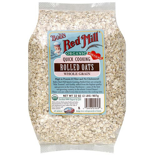 Bob's Red Mill Organic Rolled Quick Cooking Whole Grain Oats, 32 oz (Pack of 4)