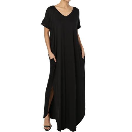 TheMogan Women's Viscose Jersey V-Neck Short Sleeve Relaxed T-Shirt Slit Maxi Dress (Greek Dress For Boys)