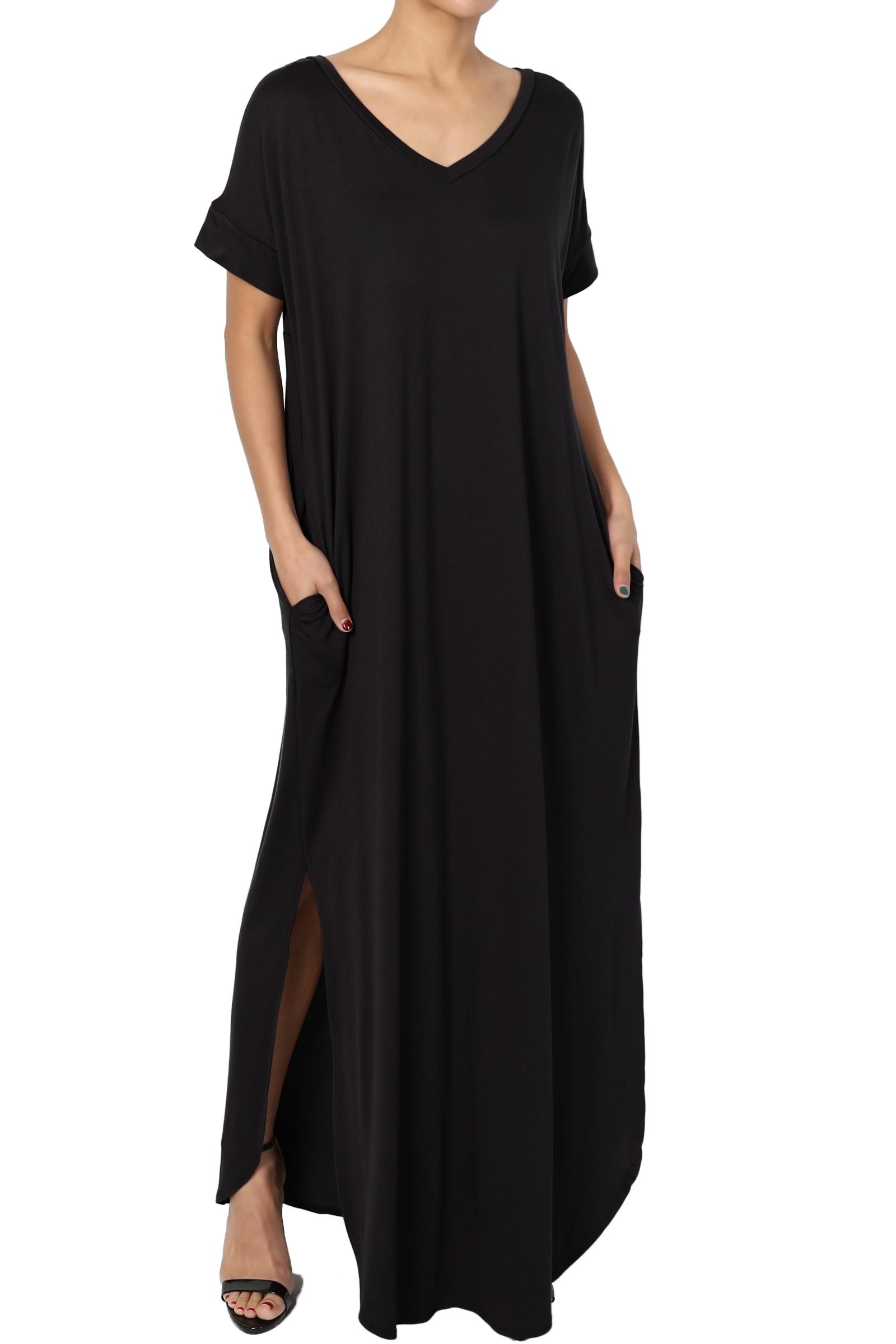 TheMogan Women's PLUS Viscose Jersey V-Neck Short Sleeve Relaxed T-Shirt Maxi Dress