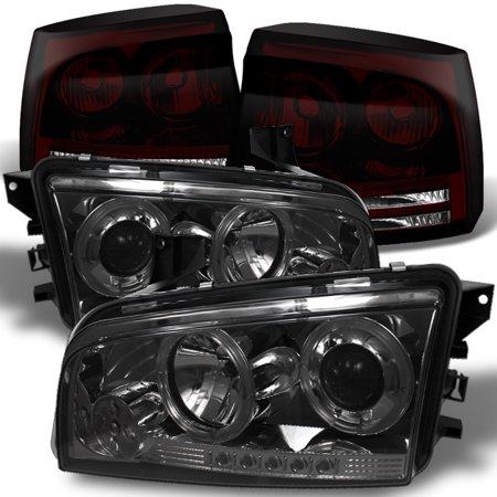 Fits 06-08 Dodge Charger Smoked Halo Projector Headlights+Red Smoked Tail Light Dodge D50 Tail Light
