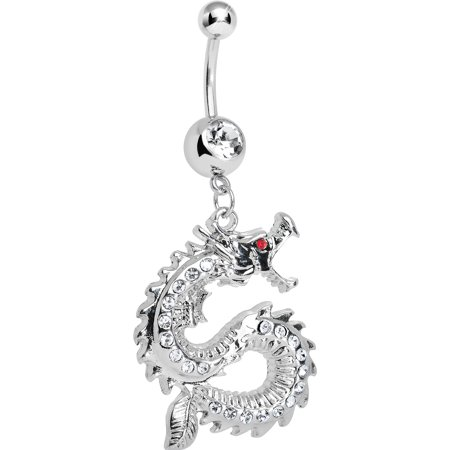 Dragon Dangle Belly Ring (Clear Chinese Dragon Charm Dangle Belly Ring )