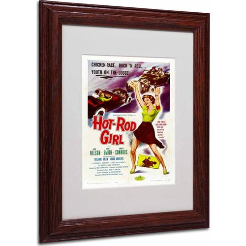 """Trademark Fine Art """"Hot Rod Girl"""" Matted Framed Art by Vintage Apple Collection, Wood Frame"""