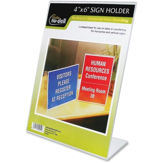 Glolite Nudell 35446 Clear Plastic Slant Back Sign Holder - Desktop