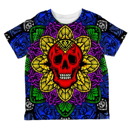 Halloween Demon Skull Mandala All Over Toddler T Shirt - Coloriage Mandalas Halloween