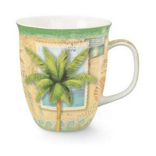Coastal Palm Tree Sun and Sea 16 Ounce Coffee Latte Tea Harbor Mug