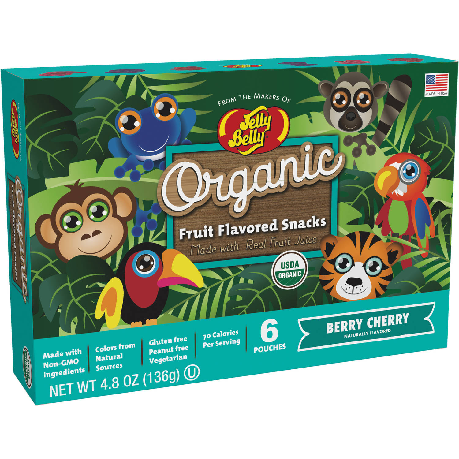 JELLY BELLY ORGANIC FRUIT SNACKS RAINFOREST ANIMALS BERRY CHERRY POUCHES 4.8 oz. BOX