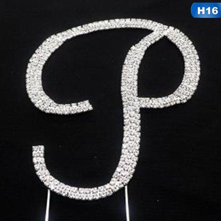 KABOER Crystal Rhinestone Silver Letter A to Z Monogram Wedding Anniversary Cake (Crystal Monogram Letter)