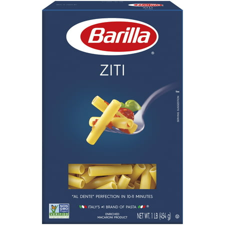 Barilla® Classic Blue Box Pasta Ziti 16 oz At Barilla, we're passionate about pasta. After all, we have been pasta makers since 1877. As an Italian family-owned food company, Barilla pasta is synonymous with high quality and  al dente  perfection every time. Our Ziti is made from the finest durum wheat and is non-GMO verified, peanut-free and suitable for a vegan or vegetarian diet. Ziti, the popular tube-shaped pasta, gets its name from the word zita, meaning bride in Italian. In Naples, Ziti is the classic pasta served for weddings as the zitas pasta. Ziti's smooth, tubular texture and large-enough holes allows for the flavors it is paired with to shine through.