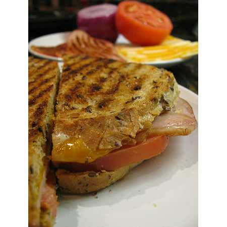 Canvas Print Sandwich Cheese Ham Grilled Panini Bread Lunch Stretched Canvas 10 X