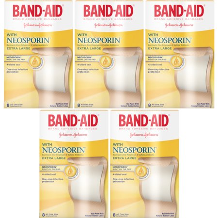 5 Pack Band-Aid Adhesive Bandages Plus Antibiotic Extra Large - 8 Count Ea