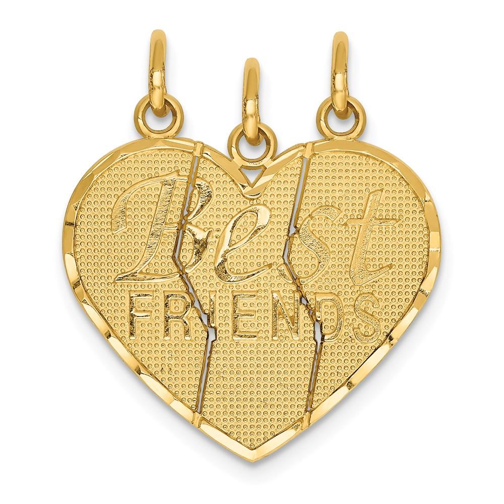 14K Yellow Gold 3 Piece Break-Apart Friend Charm (25mm x ...