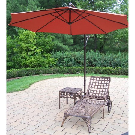 Oakland Living Elite Cast Aluminum Chaise Lounge Set with Cantilever Umbrella