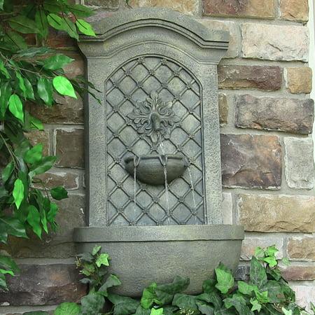 Sunnydaze Rosette Leaf Outdoor Wall Fountain, Limestone Finish, 31 Inch