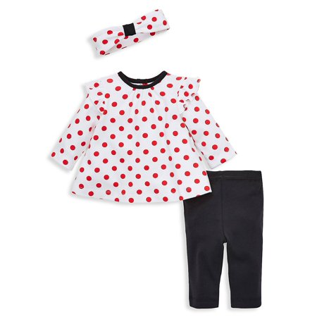 Girl Clothes Online (Baby Girl's 3-Piece Polka-Dot Headband, Tunic & Leggings)