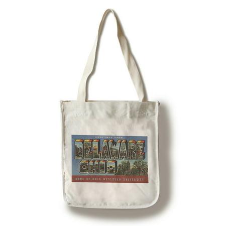 Delaware, Ohio - Wesleyan University - Large Letter Scenes (100% Cotton Tote Bag - - Pet Supplies Plus Delaware Ohio