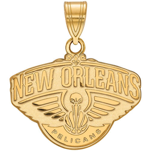 LogoArt NBA New Orleans Pelicans 10kt Yellow Gold Medium Pendant