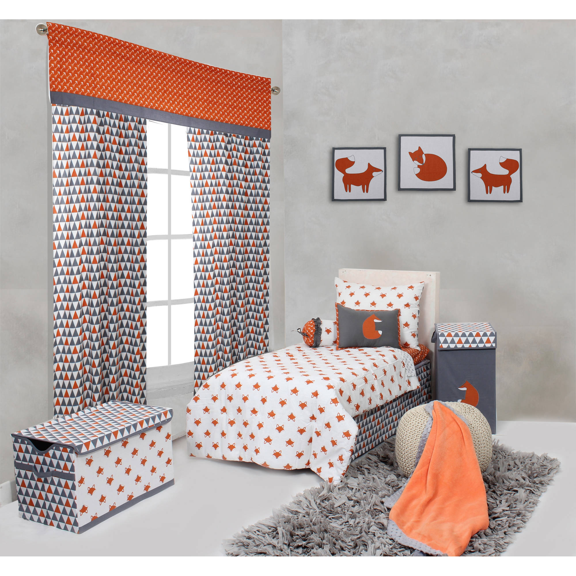 Bacati - Playful Foxes Orange/Gray 4-Piece Toddler Bedding Set 100% Cotton percale fabrics