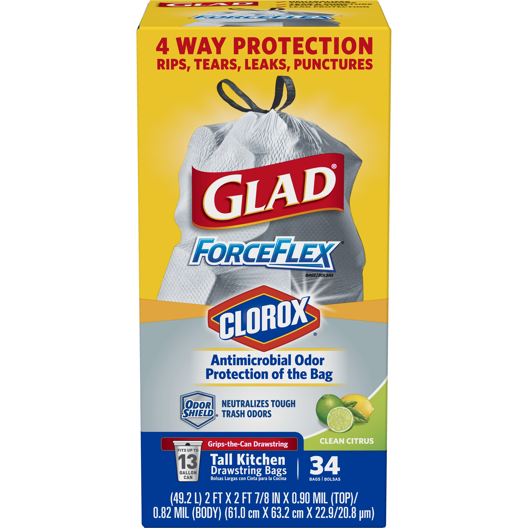 Glad ForceFlex Tall Kitchen Antimicrobial Drawstring Trash Bags - Scented - 13 gal - 34 ct