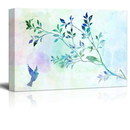 Wall26 Canvas Wall Art Light Blue Watercolor Style Painting With