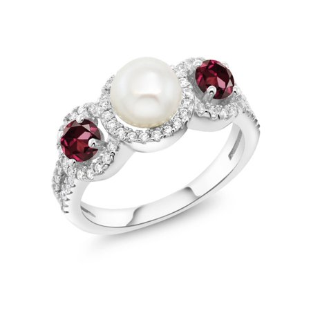 1.54 Ct Round Cultured Freshwater Pearl Red Rhodolite Garnet 925 Silver Ring