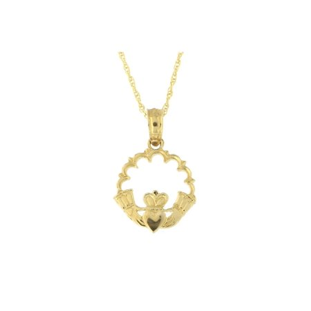 14k Yellow Gold Tiny Lacy Open Claddagh Circle Pendant