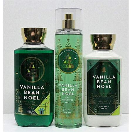 Bath and Body Works Vanilla Bean Noel Shower Gel, Body Lotion, Fine Fragrance Mist Daily Trio Gift Set