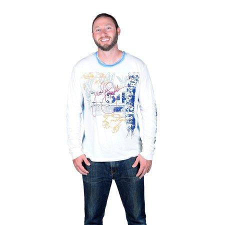 TWELVE SYMBOLS Men's Indigo Denim Long Sleeve Studded T-shirt White Large