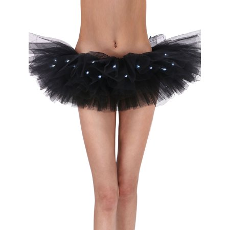 Adult LED Tutu Light Mesh Petticoat Dance Rave Tutu Skirt for 80s Costume Party (Dance Party Halloween)