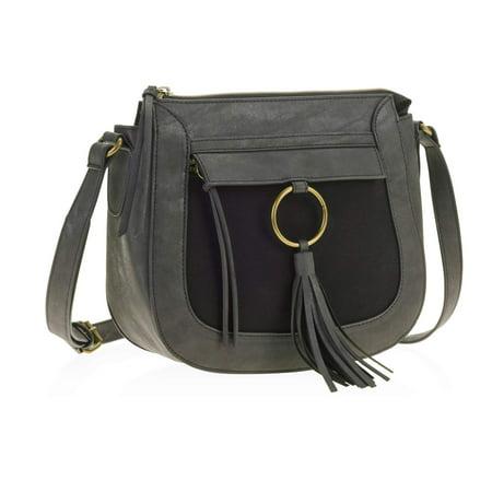 Ring Hobo Handbag Purse Bag - No Boundaries New Ring Tassel Crossbody Handbag