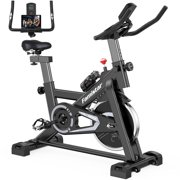 Famistar QK-118 Exercise Bike Indoor Cycling Stationary Bike with 45Lbs Flywheel, LCD Display, Adjustable Seat and Handlebars Smooth Quiet Belt for Home Cardio Gym Workout Water Bottle As Gifts