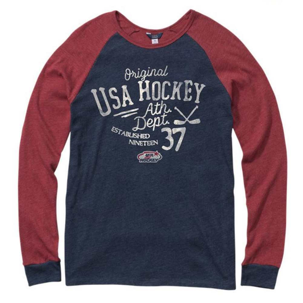 USA Hockey Adult Vintage Long Sleeve Heathered Jersey T-Shirt H17024