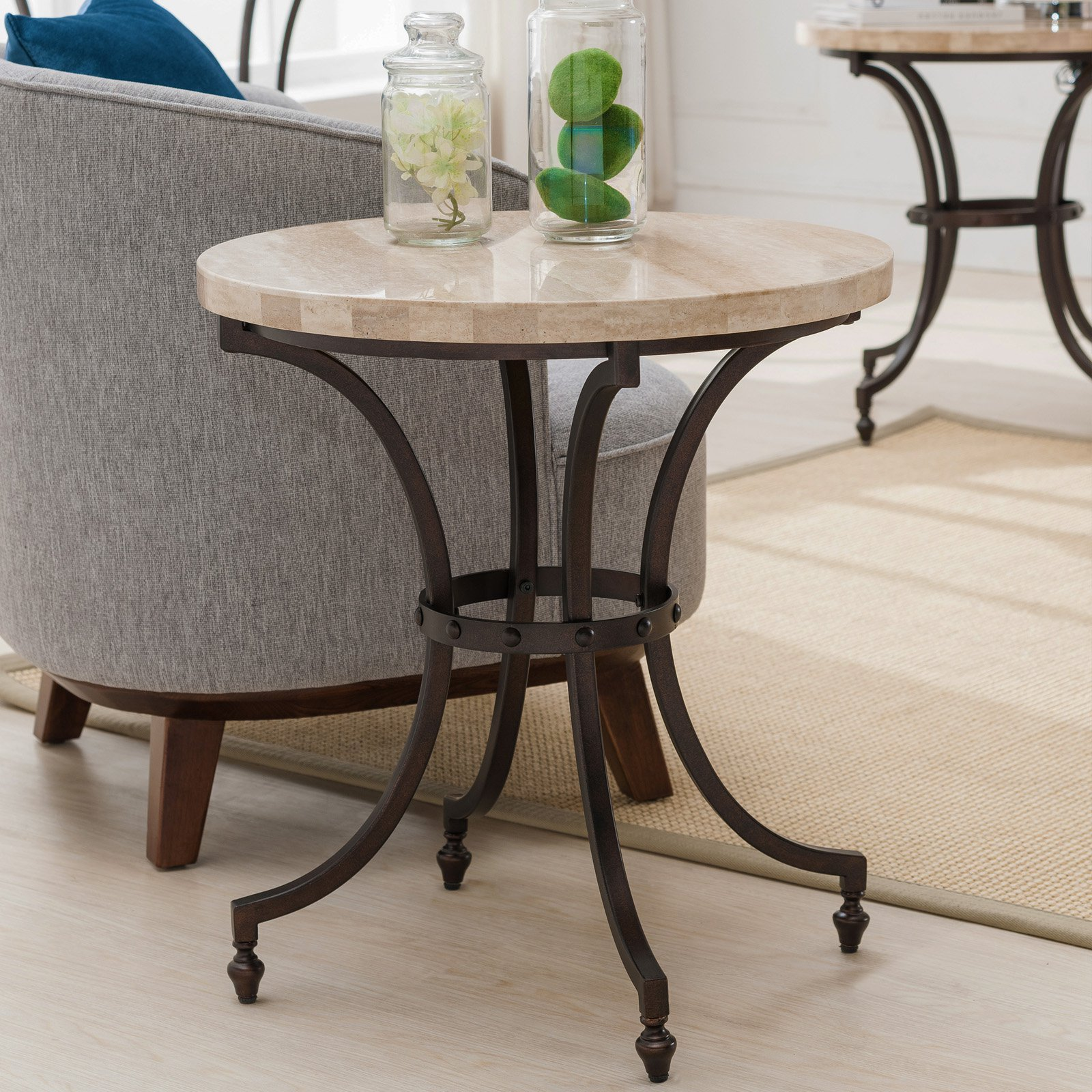 Leick Home Round Travertine Stone Top Side Table with Rubbed Bronze Metal Base