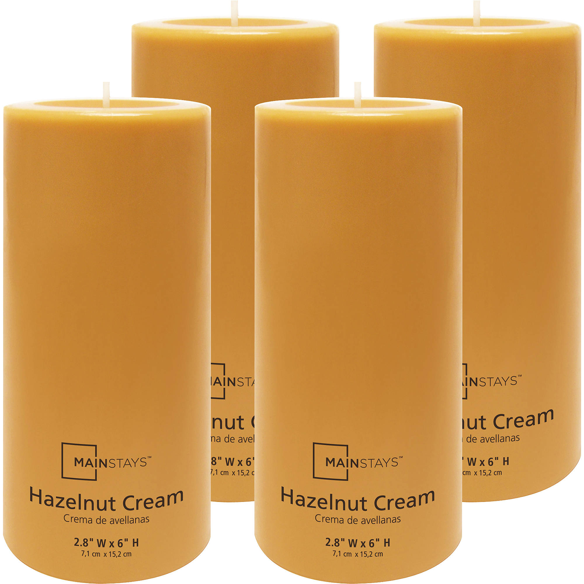 "Mainstays 6"" Pillar Hazelnut Scented Candle, Set of 4"