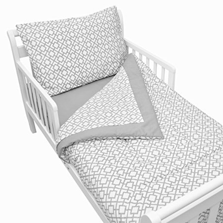 TL Care 100% Cotton Percale Toddler Bed Set, Gray Lattice, for Boys and Girls