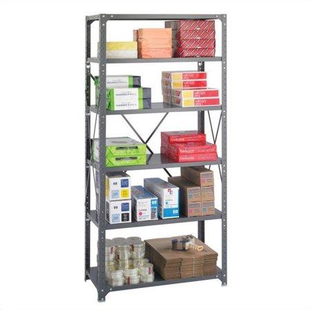 Safco 36 x 18 Commercial 6 Shelf Kit in Dark Grey Finish - image 4 de 4