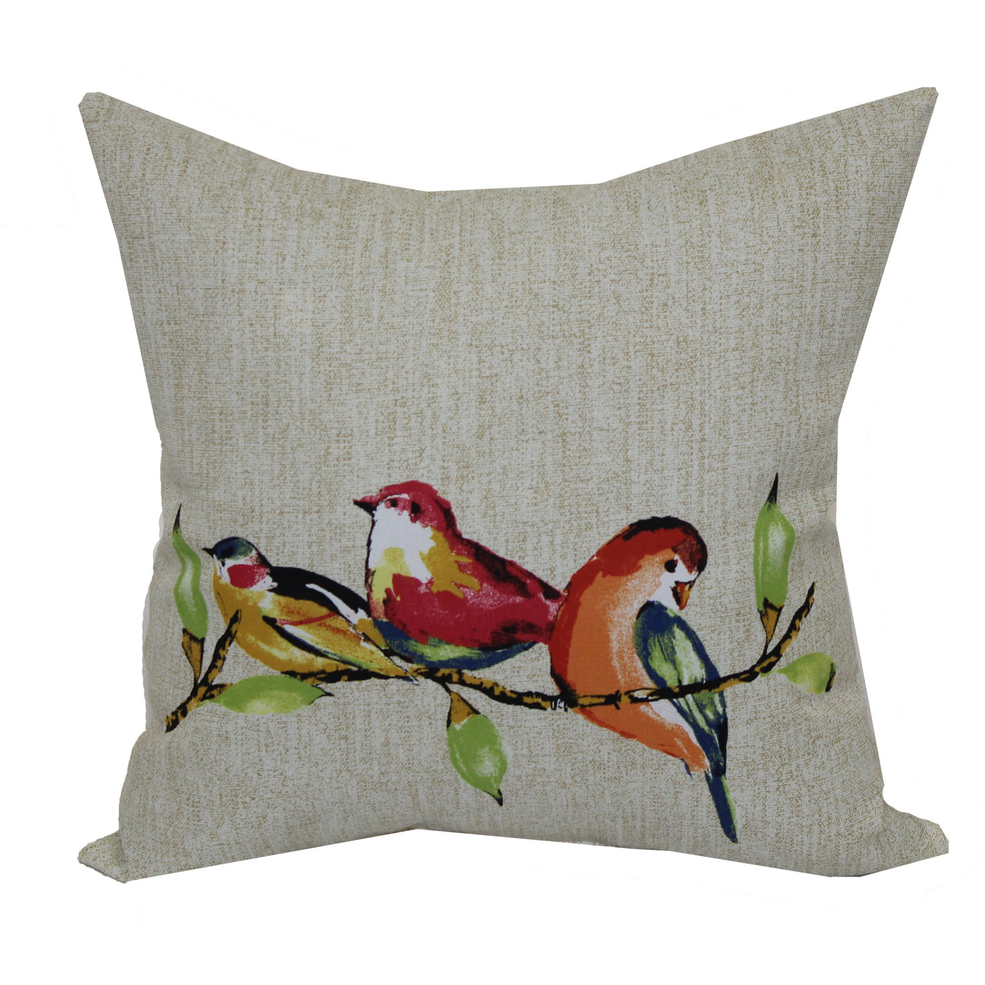 Mainstays 16 Quot Painted Birds Outdoor Pillow Walmart Com