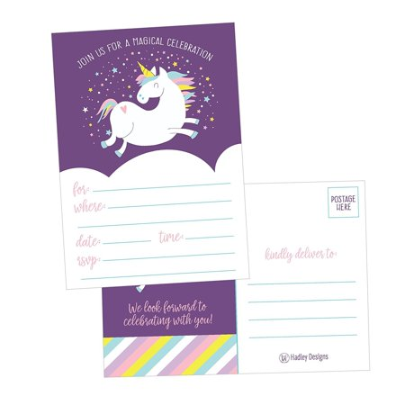 25 Unicorn Rainbow Party Invitations For Kids Teens Adults Boys Girls