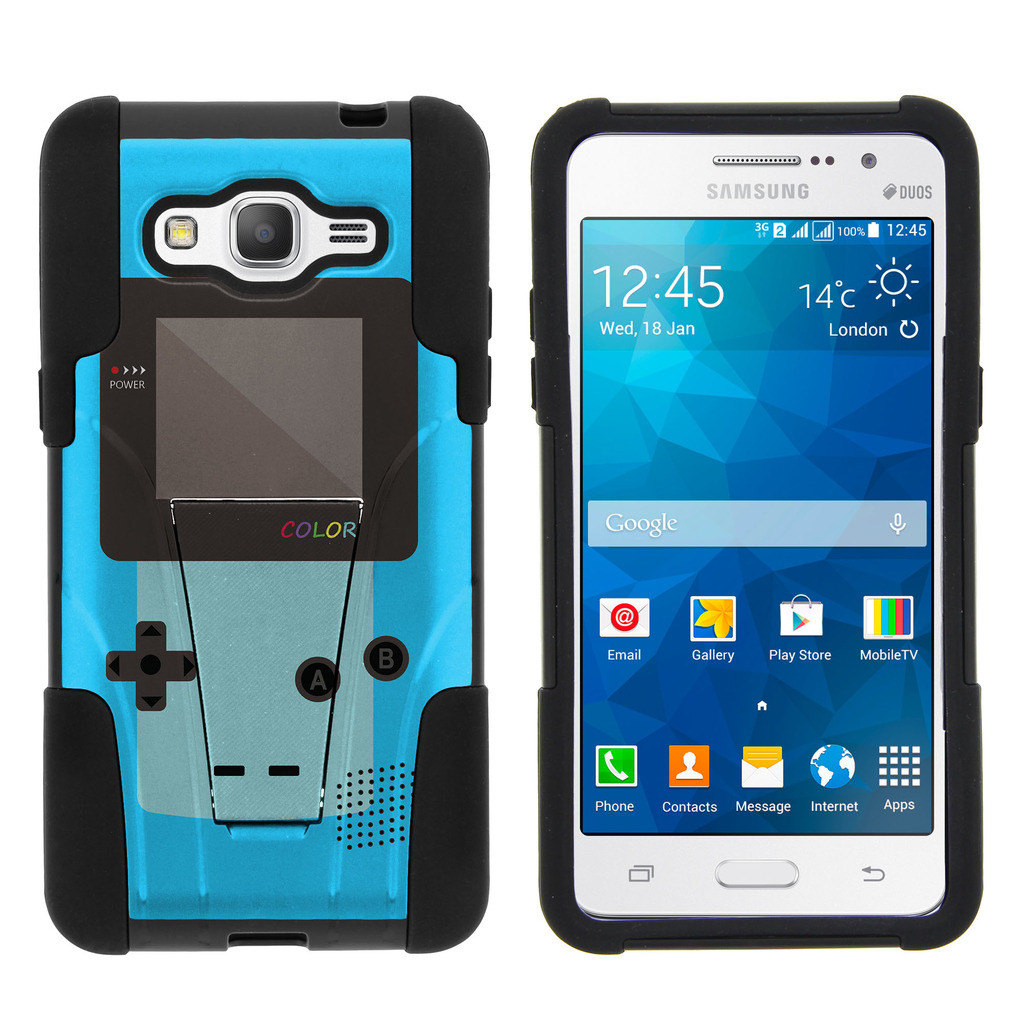 buy popular 855c7 b521f Samsung Galaxy Grand Prime G530 STRIKE IMPACT Dual Layered Shock Resistant  Case with Built-In Kickstand by Miniturtle® - Blue Gameboy