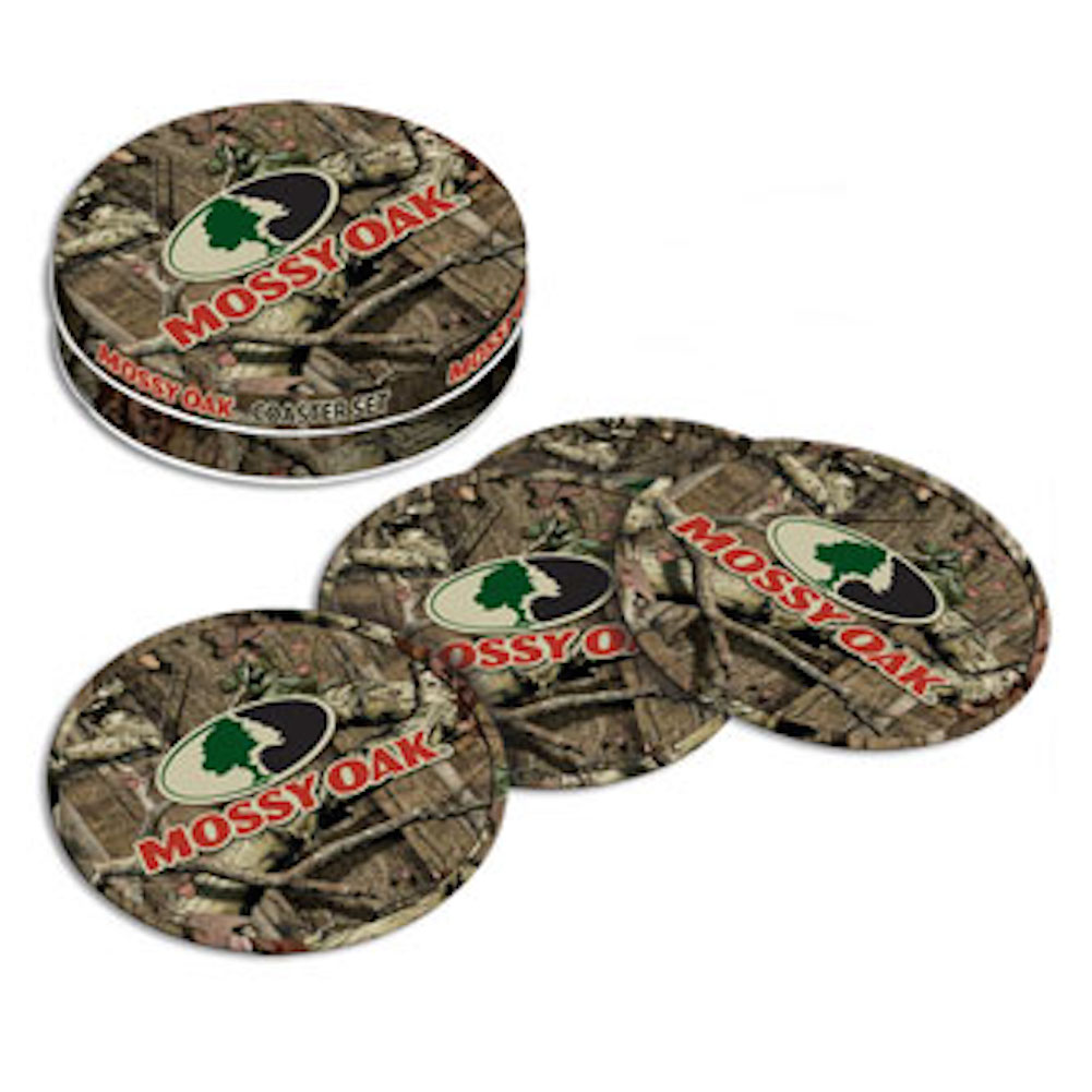 Mossy Oak Camouflage Tin Coaster Set of Four with Natural Cork Bottoms MO-68507