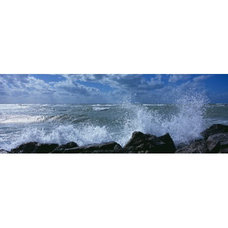 Waves Breaking On Rocks Gulf Of Mexico Venice Florida USA Poster Print