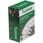 Tupkee Twinkle Shimmering Lights - Indoor Outdoor  20.5 Feet Light String, 100 Clear Bulbs - Christmas Tree Holiday Decor