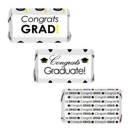 Graduation Party Candy Wrappers, 54 Count - Congrats Grad Black and White Party Decorations for Mini Candy Bars Graduation Party Favors Supplies - 54 Count Stickers