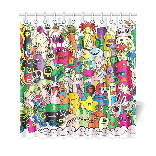 GCKG Cute Seamless Shower Curtain Monsters And Alien