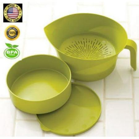Green Kitchen Strainer Set Plastic 3 Pc Colander Storage Bowl With Handle