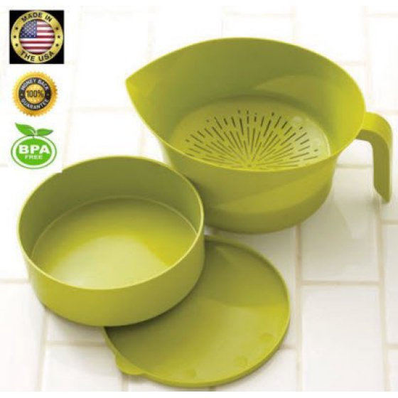 Green Kitchen Strainer Set Plastic 3 Pc Colander Storage Bowl with Handle