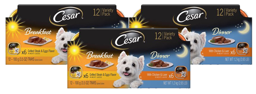 CESAR Wet Dog Food Classic Loaf in Sauce Breakfast and Dinner Mealtime Variety Pack, (12) 3.5 oz. Trays by Mars Petcare