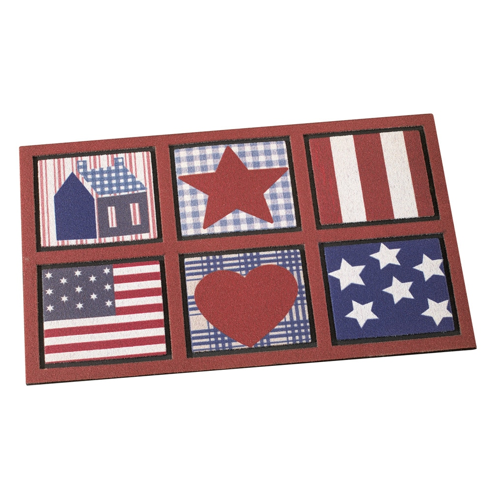 "Americana, Skid-Resistant Primitive Door Mat, Indoor or Outdoor Use, 30""L x 18""W"
